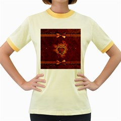 Beautiful Heart With Leaves Women s Fitted Ringer T-Shirt
