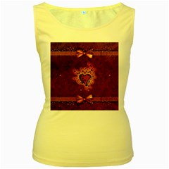 Beautiful Heart With Leaves Women s Yellow Tank Top