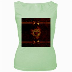 Beautiful Heart With Leaves Women s Green Tank Top