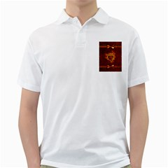Beautiful Heart With Leaves Golf Shirt by FantasyWorld7