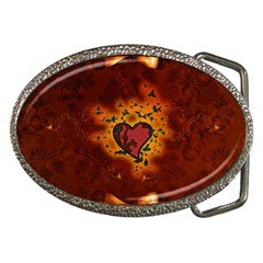Beautiful Heart With Leaves Belt Buckles