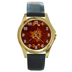 Beautiful Heart With Leaves Round Gold Metal Watch