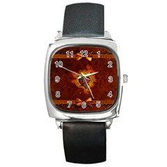 Beautiful Heart With Leaves Square Metal Watch