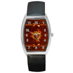 Beautiful Heart With Leaves Barrel Style Metal Watch