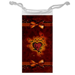 Beautiful Heart With Leaves Jewelry Bag