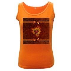 Beautiful Heart With Leaves Women s Dark Tank Top