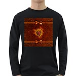 Beautiful Heart With Leaves Long Sleeve Dark T-Shirt Front