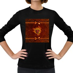 Beautiful Heart With Leaves Women s Long Sleeve Dark T-Shirt