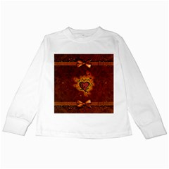 Beautiful Heart With Leaves Kids Long Sleeve T-Shirts