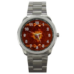 Beautiful Heart With Leaves Sport Metal Watch