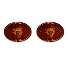 Beautiful Heart With Leaves Cufflinks (Oval)