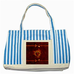 Beautiful Heart With Leaves Striped Blue Tote Bag