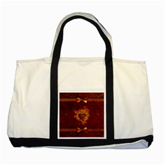 Beautiful Heart With Leaves Two Tone Tote Bag