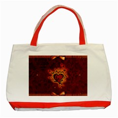 Beautiful Heart With Leaves Classic Tote Bag (Red)