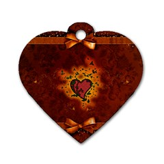 Beautiful Heart With Leaves Dog Tag Heart (One Side)