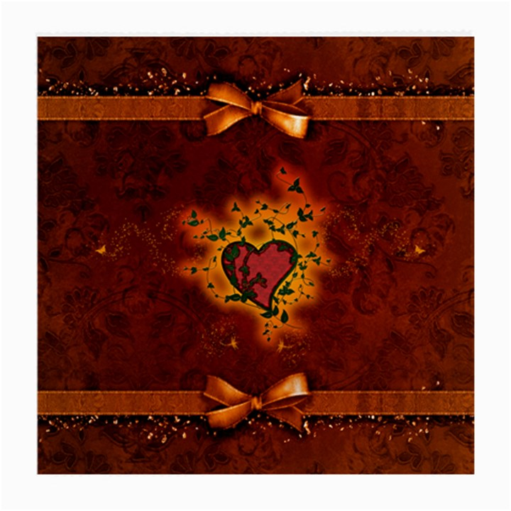 Beautiful Heart With Leaves Medium Glasses Cloth (2 Sides)