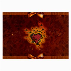 Beautiful Heart With Leaves Large Glasses Cloth (2 Sides)