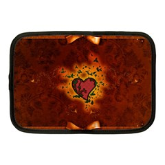 Beautiful Heart With Leaves Netbook Case (Medium)