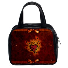 Beautiful Heart With Leaves Classic Handbag (two Sides)