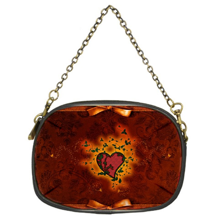 Beautiful Heart With Leaves Chain Purse (One Side)