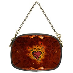 Beautiful Heart With Leaves Chain Purse (two Sides) by FantasyWorld7