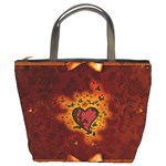Beautiful Heart With Leaves Bucket Bag Front