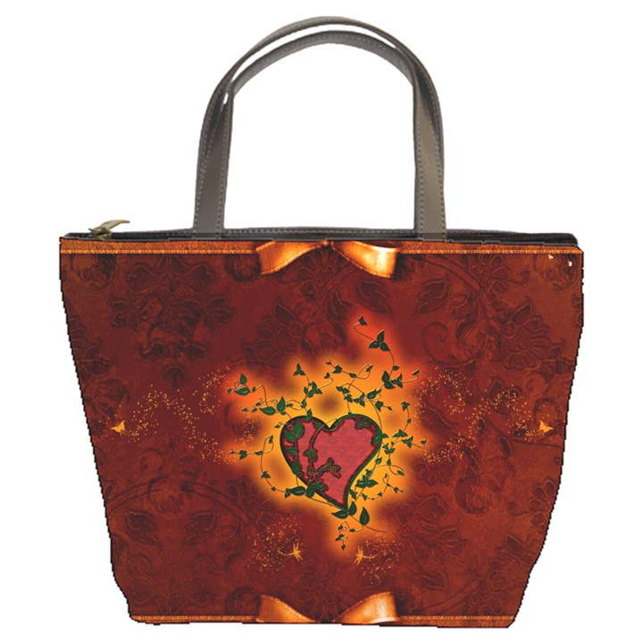 Beautiful Heart With Leaves Bucket Bag