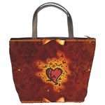 Beautiful Heart With Leaves Bucket Bag Back