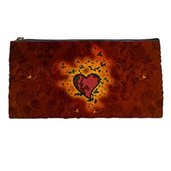 Beautiful Heart With Leaves Pencil Cases