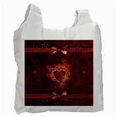 Beautiful Heart With Leaves Recycle Bag (Two Side)