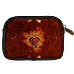 Beautiful Heart With Leaves Digital Camera Leather Case Back