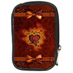 Beautiful Heart With Leaves Compact Camera Leather Case