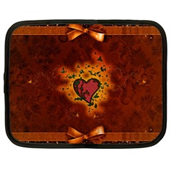 Beautiful Heart With Leaves Netbook Case (XL)