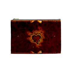 Beautiful Heart With Leaves Cosmetic Bag (Medium)