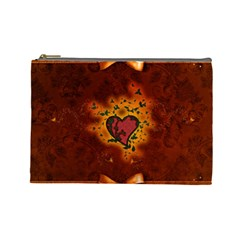 Beautiful Heart With Leaves Cosmetic Bag (Large)