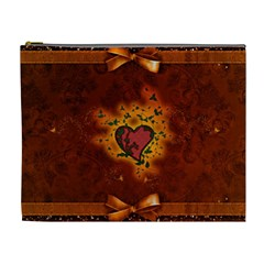 Beautiful Heart With Leaves Cosmetic Bag (XL)