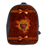 Beautiful Heart With Leaves School Bag (Large) Front