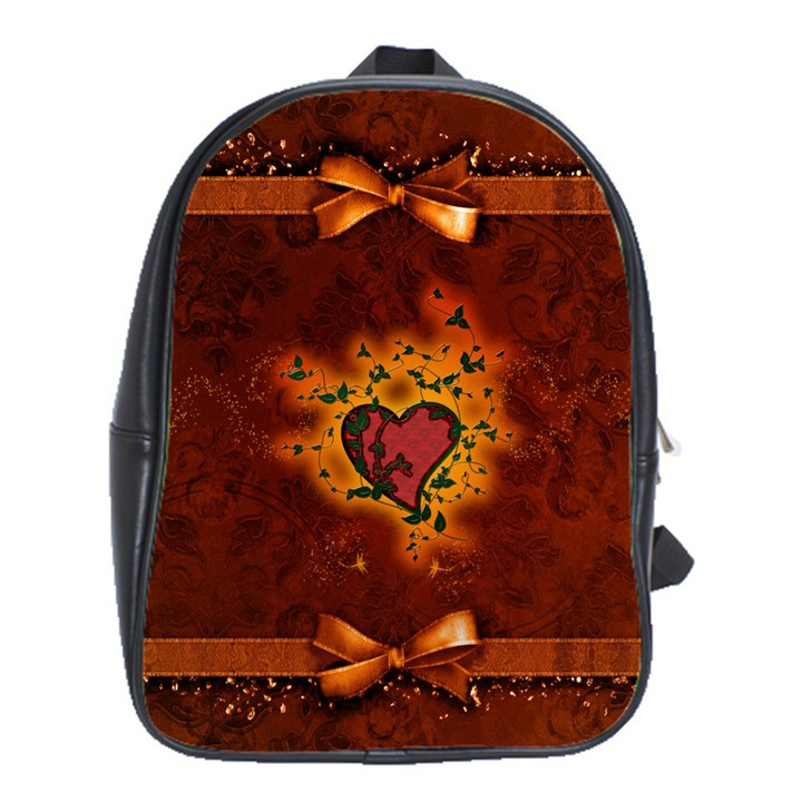Beautiful Heart With Leaves School Bag (Large)