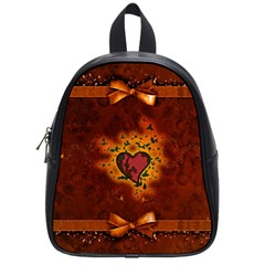 Beautiful Heart With Leaves School Bag (Small)