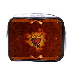 Beautiful Heart With Leaves Mini Toiletries Bag (One Side)