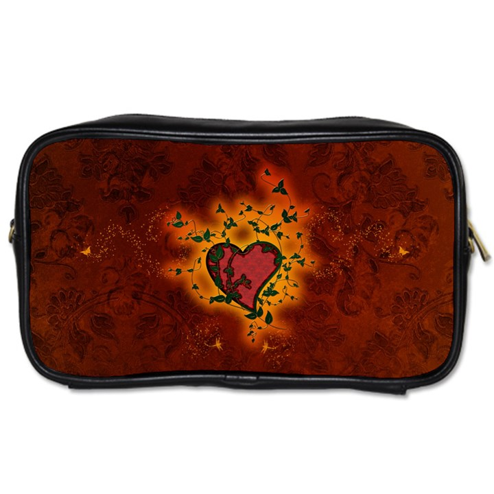 Beautiful Heart With Leaves Toiletries Bag (One Side)