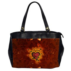 Beautiful Heart With Leaves Oversize Office Handbag (2 Sides)