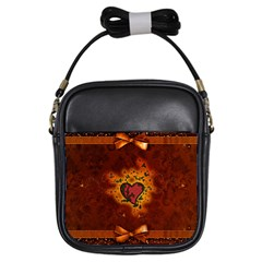 Beautiful Heart With Leaves Girls Sling Bag