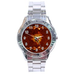 Beautiful Heart With Leaves Stainless Steel Analogue Watch