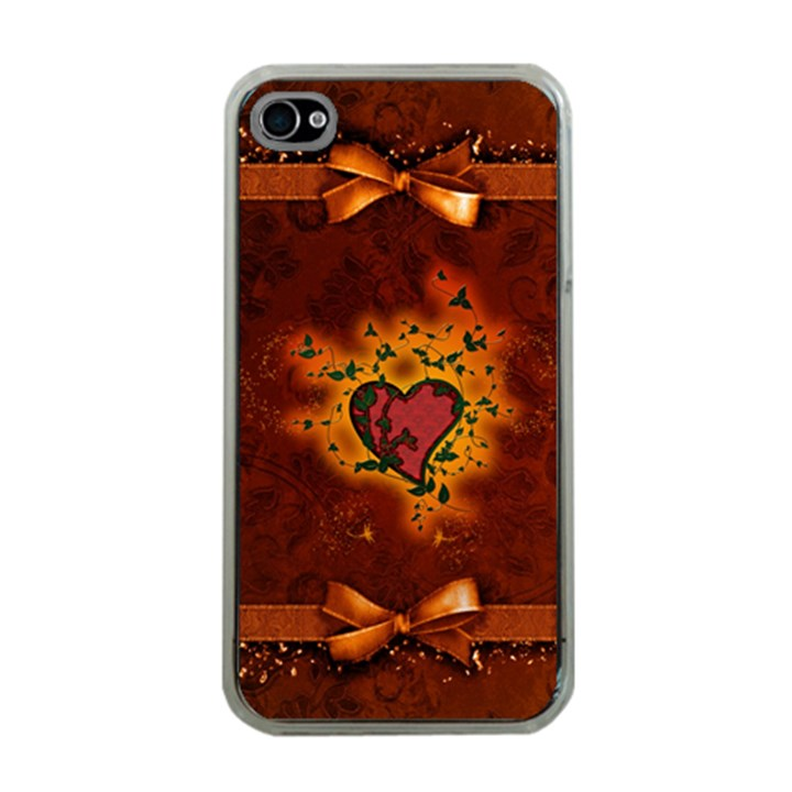 Beautiful Heart With Leaves iPhone 4 Case (Clear)