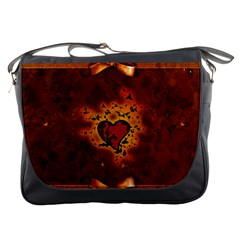 Beautiful Heart With Leaves Messenger Bag
