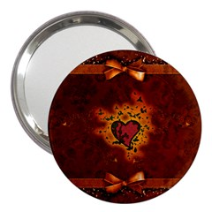 Beautiful Heart With Leaves 3  Handbag Mirrors