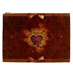 Beautiful Heart With Leaves Cosmetic Bag (XXL)