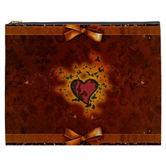 Beautiful Heart With Leaves Cosmetic Bag (XXXL)