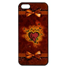 Beautiful Heart With Leaves Iphone 5 Seamless Case (black) by FantasyWorld7